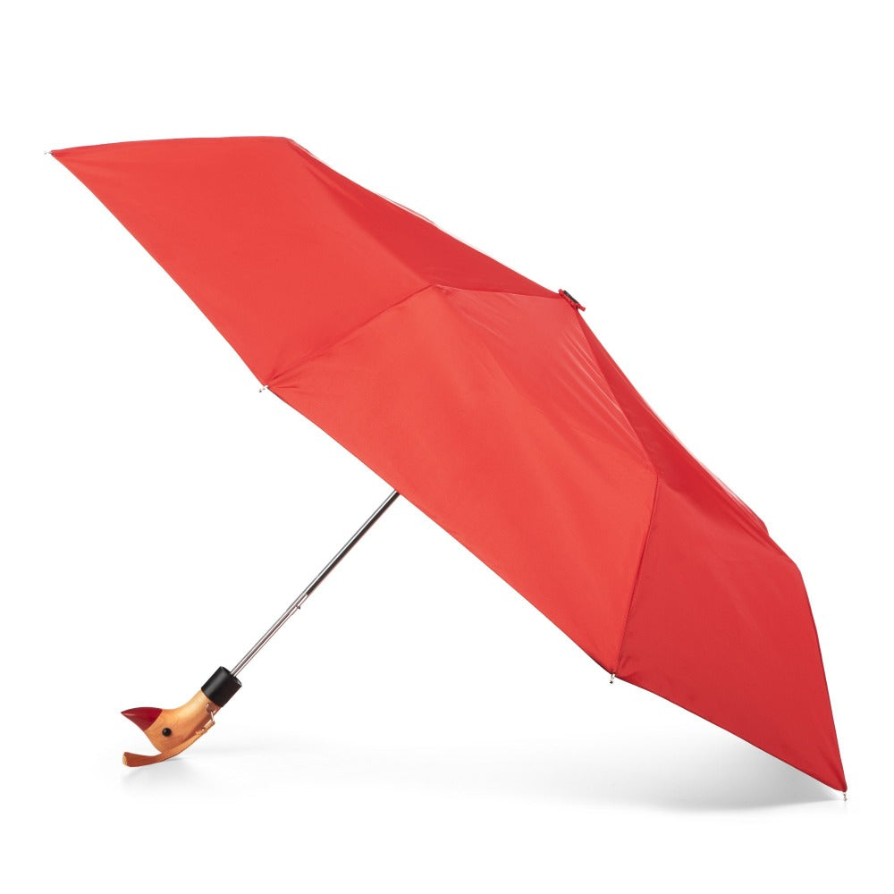 Wooden Duck Handle Auto Open Umbrella in Red Open Side Profile