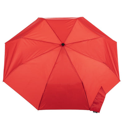 Wooden Duck Handle Auto Open Umbrella in Red Open Top View
