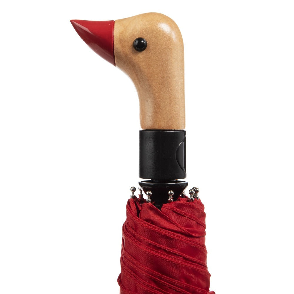 Wooden Duck Handle Auto Open Umbrella in Red Closed Close Up Duck Handle