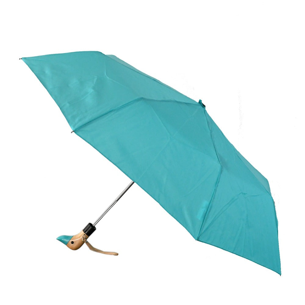 Wooden Duck Handle Auto Open Umbrella in Tahitian Blue Open