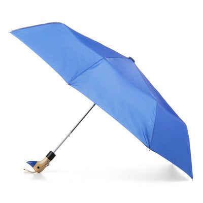 Wooden Duck Handle Auto Open Umbrella in Victoria Blue Open Side Profile