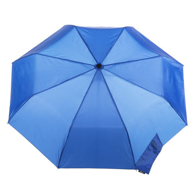 Wooden Duck Handle Auto Open Umbrella in Victoria Blue Open Top View