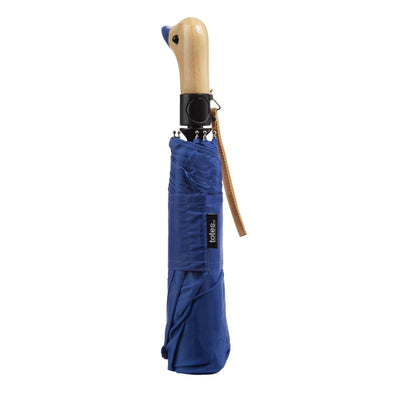 Wooden Duck Handle Auto Open Umbrella in Victoria Blue Closed
