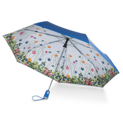 Under Canopy Print Auto Open Close Umbrella in Flower Garden Under Canopy View