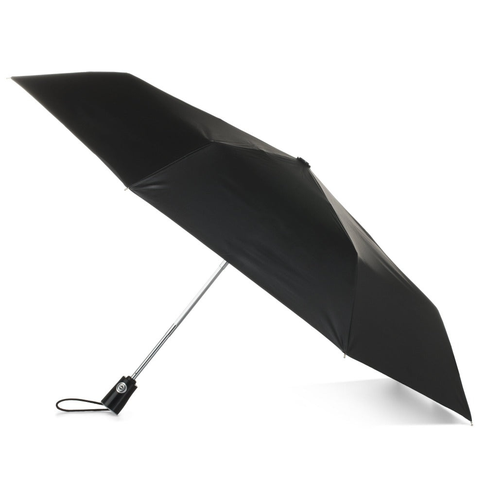 Under Canopy Print Auto Open Close Umbrella in Zodiac Black Open Side Profile