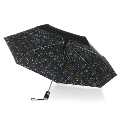 Under Canopy Print Auto Open Close Umbrella in Zodiac Black Under Canopy View