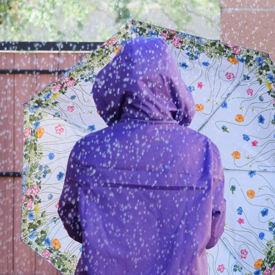 Under Canopy Print Auto Open Close Umbrella in Flower Garden With Model and Purple Rain Slicker