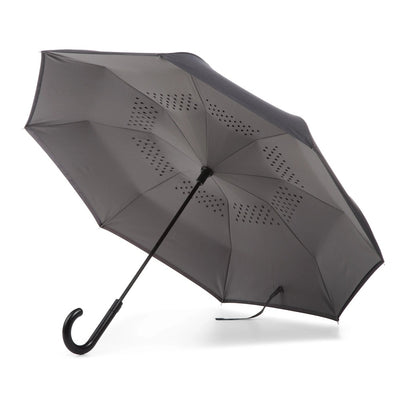 InBrella Reverse Close Umbrella in Black/Grey Open Under Canopy