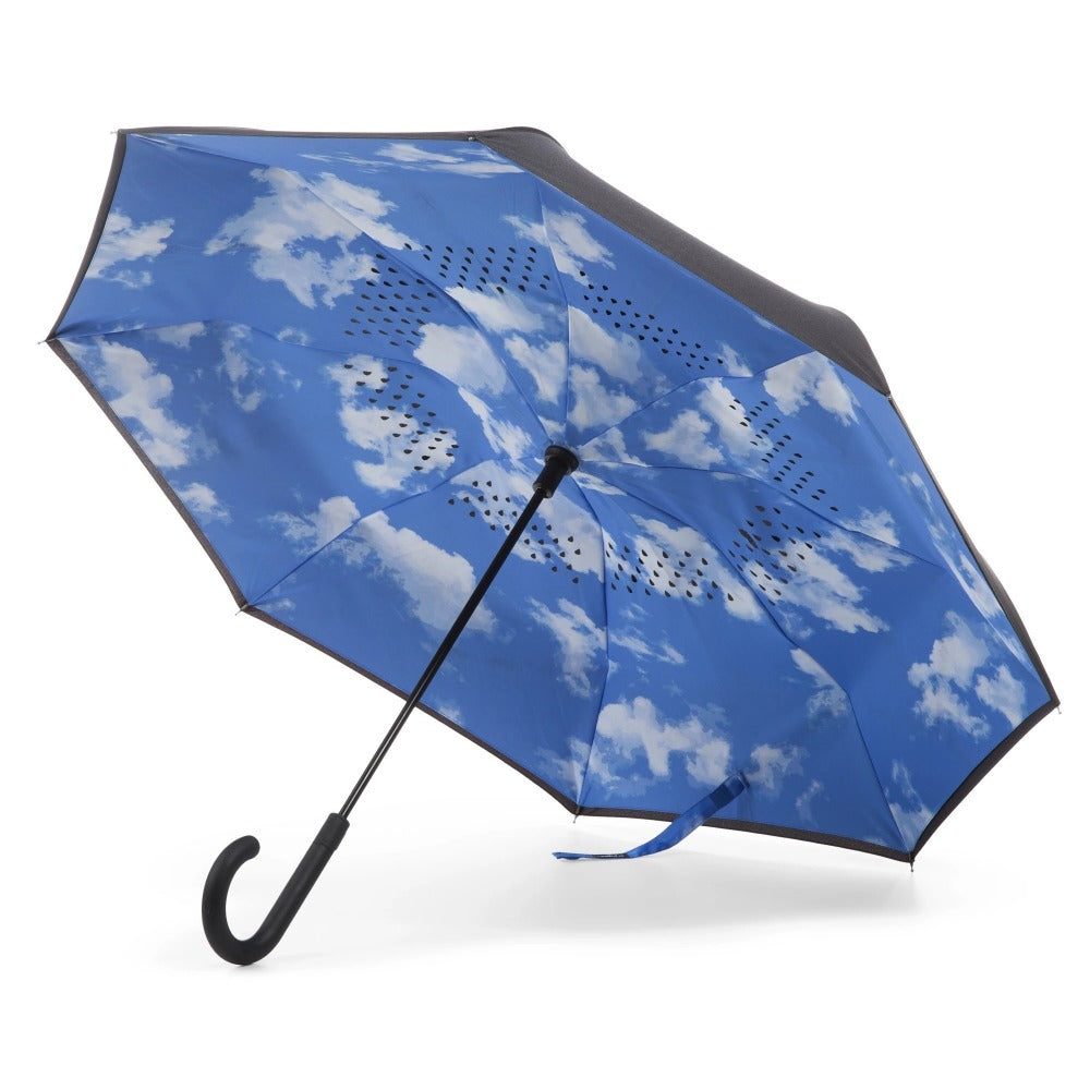 InBrella Reverse Close Umbrella in Clouds Open Under Canopy