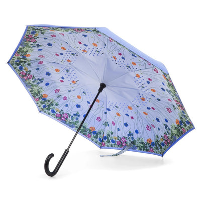 InBrella Reverse Close Umbrella in Flower Garden Open Under Canopy