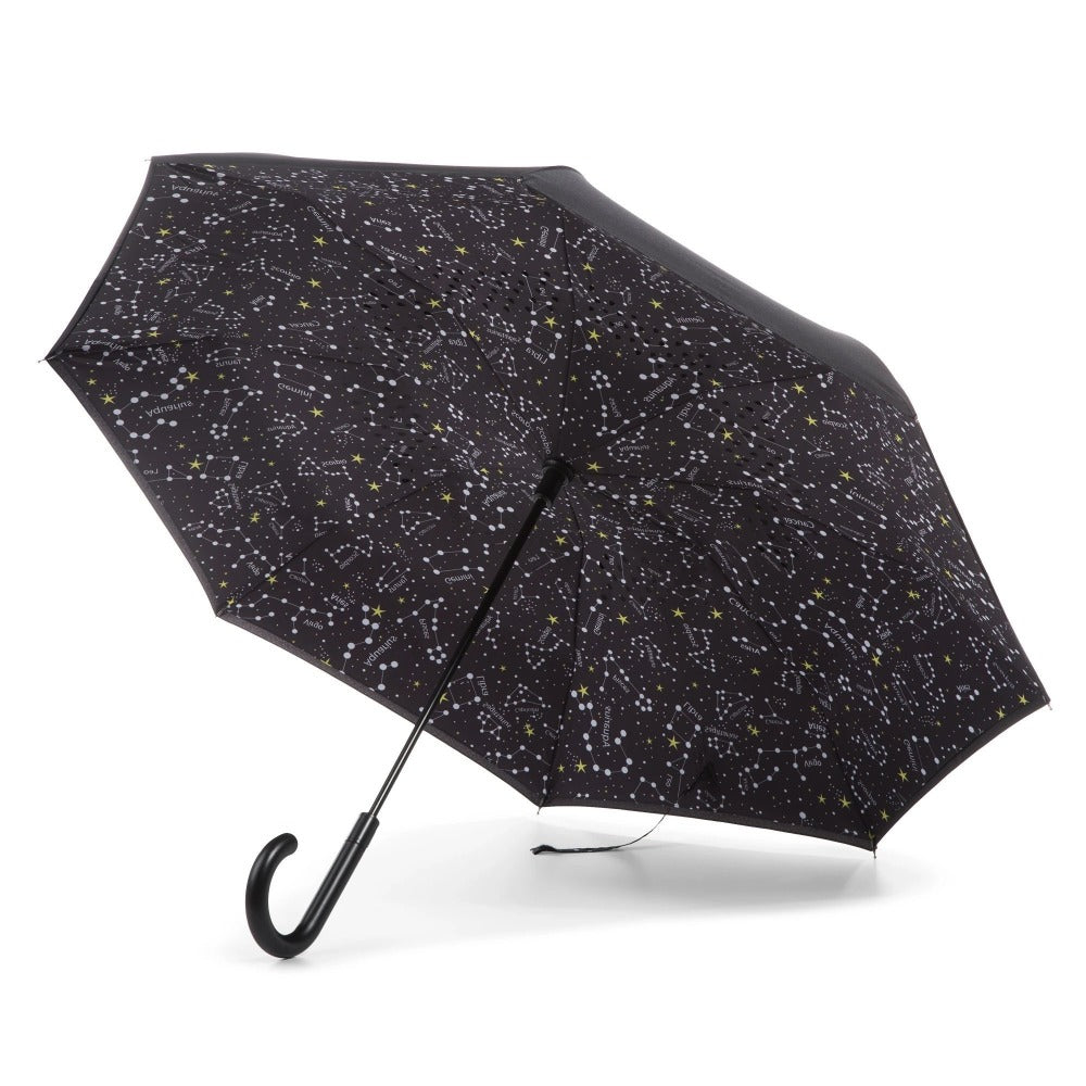 InBrella Reverse Close Umbrella in Zodiac Black Open Under Canopy