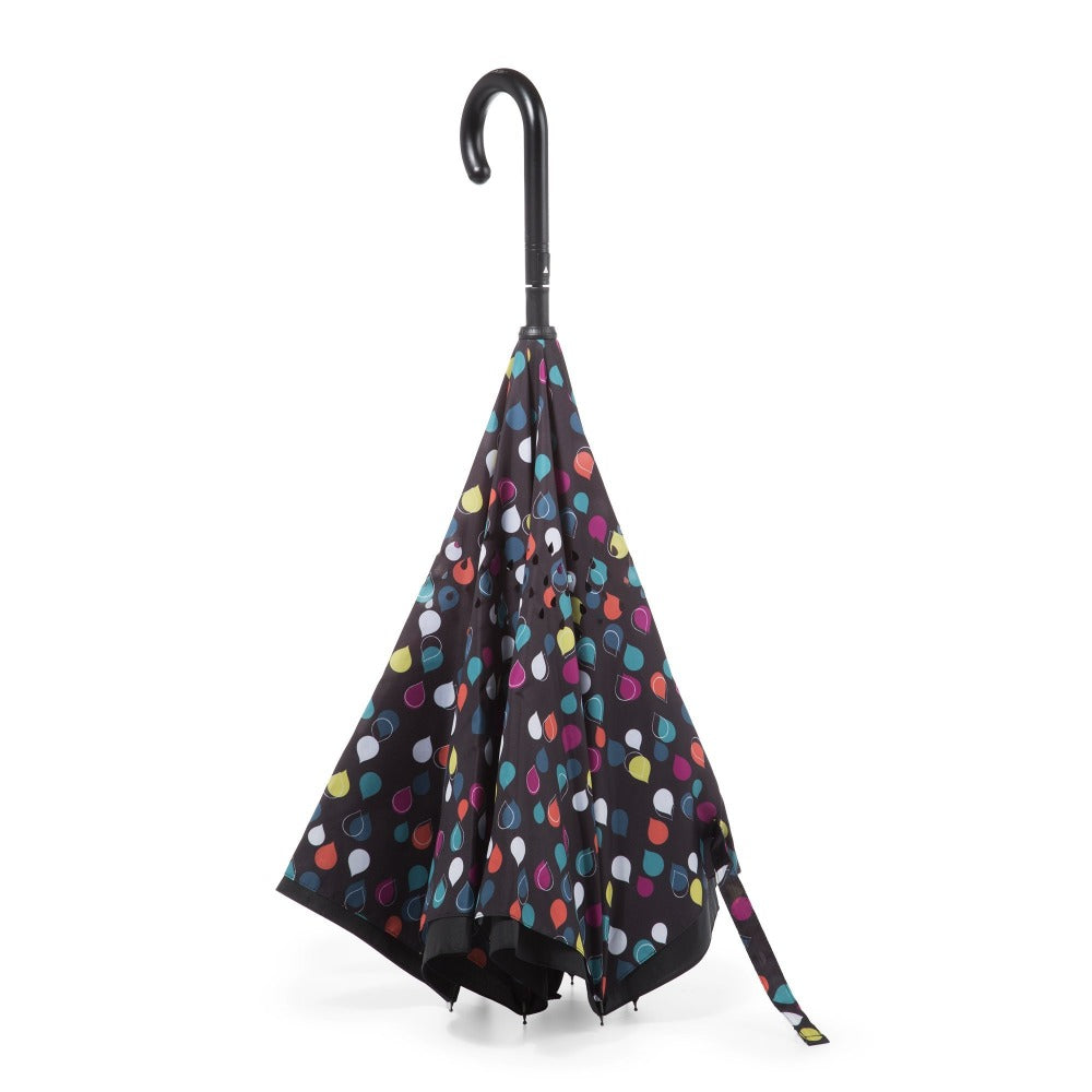 InBrella Reverse Close Umbrella in Large Raindrops Inverse Closed Stand Up