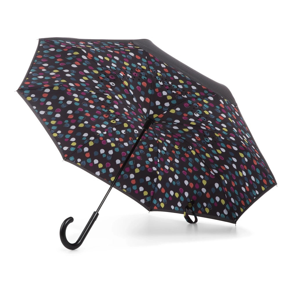 InBrella Reverse Close Umbrella in Large Raindrops Open Under Canopy