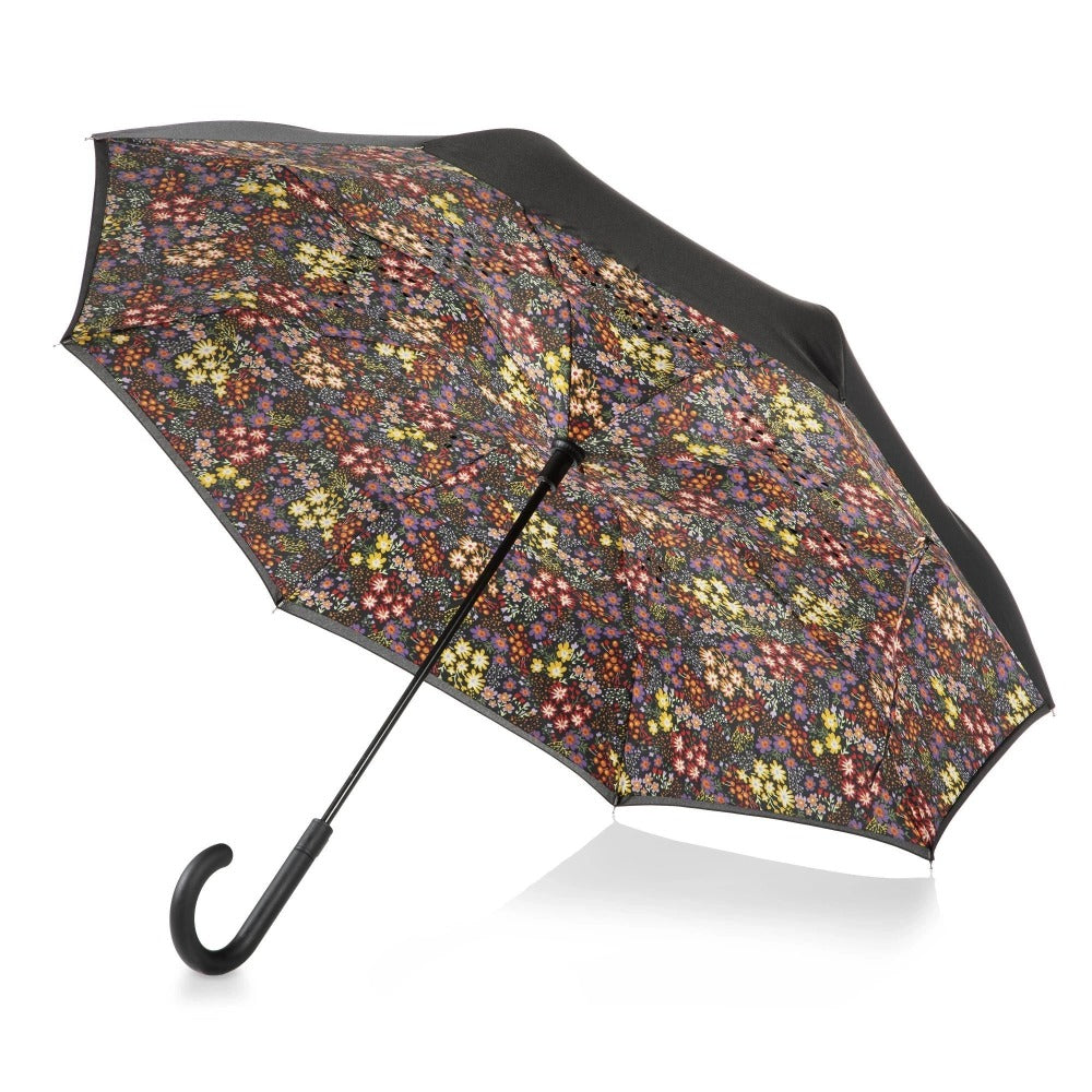 InBrella Reverse Close Umbrella in Enchanted Garden Open Under Canopy