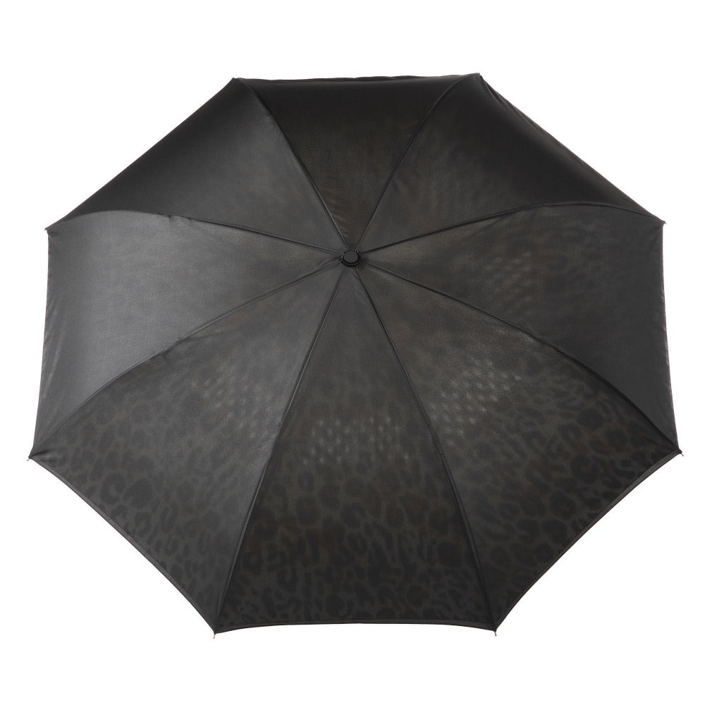 InBrella Reverse Close Umbrella in Honey Leopard Open Top View