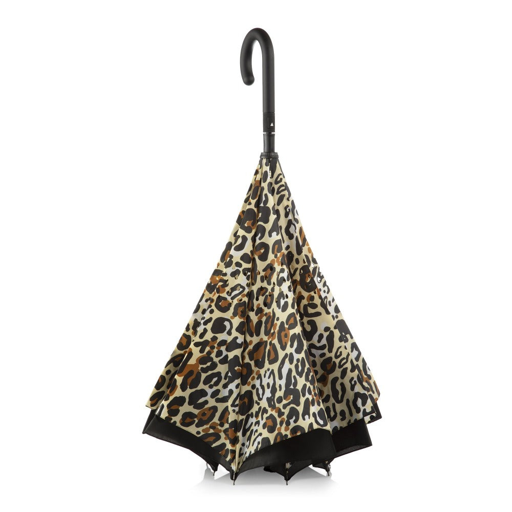 InBrella Reverse Close Umbrella in Honey Leopard Inverse Closed Stand Up