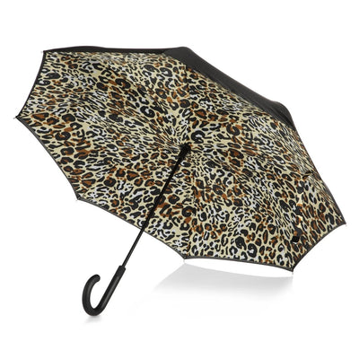 InBrella Reverse Close Umbrella in Honey Leopard Open Under Canopy
