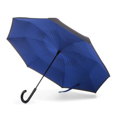 InBrella Reverse Close Umbrella in Royal/Black Open Under Canopy