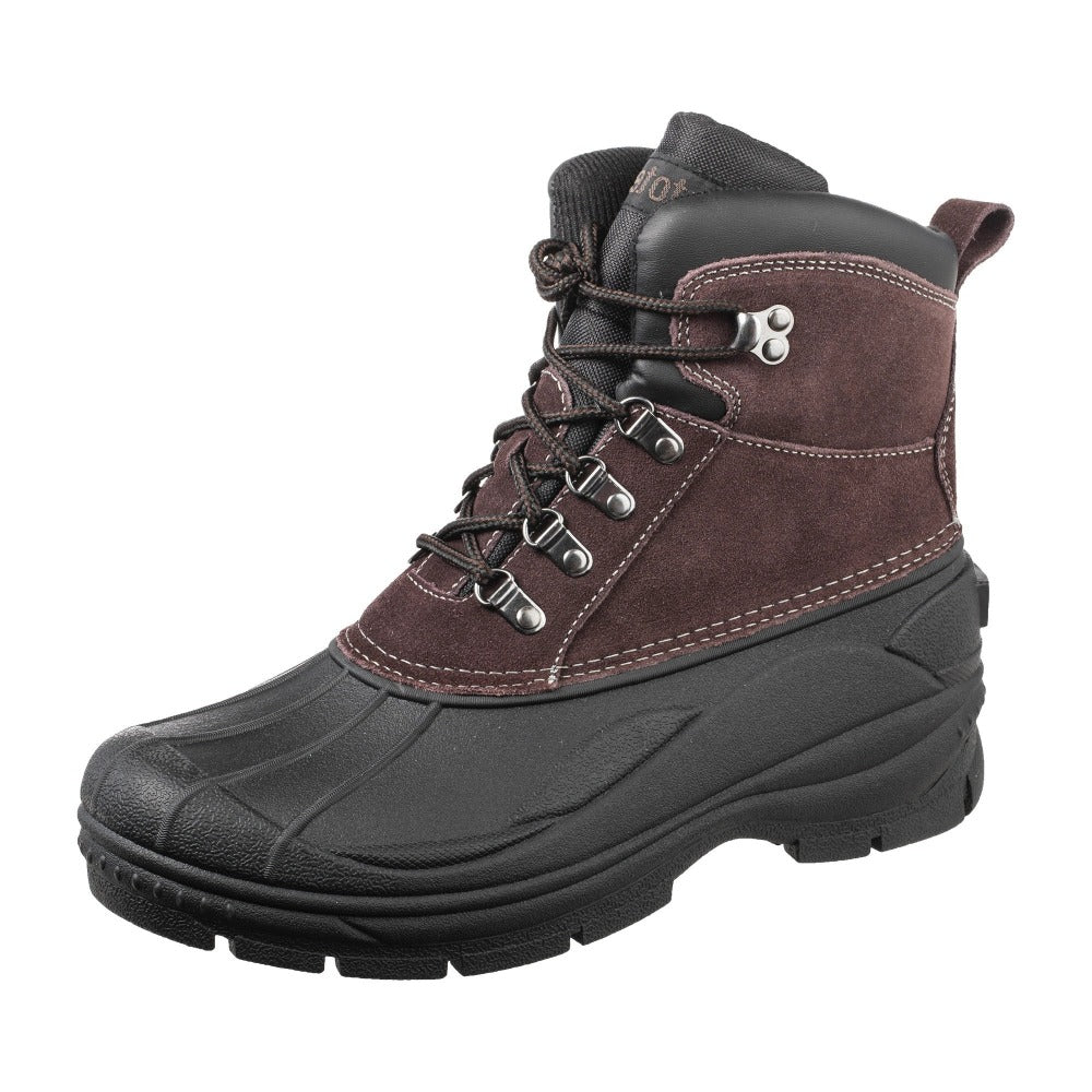 Men's Glacier Lace Winter Boot in Brown Left Angled View