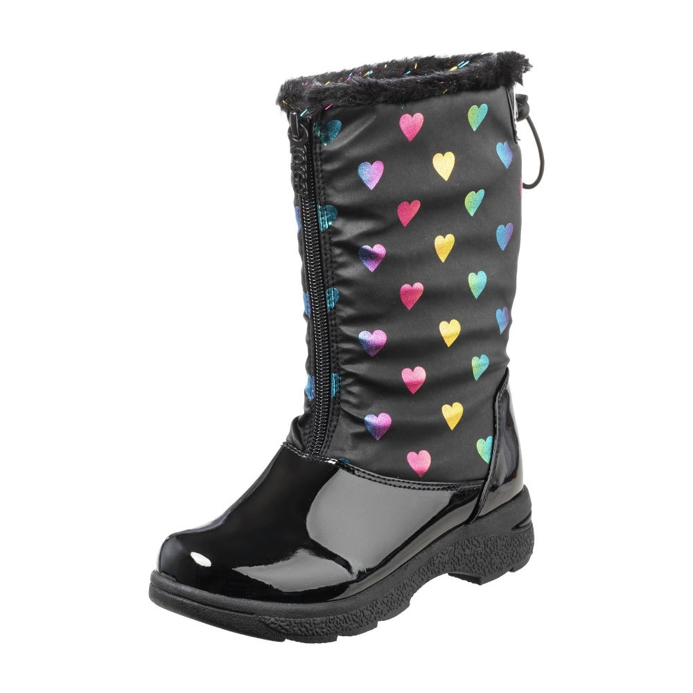 Girl's Anna Winter Boot in Black Left Angled View
