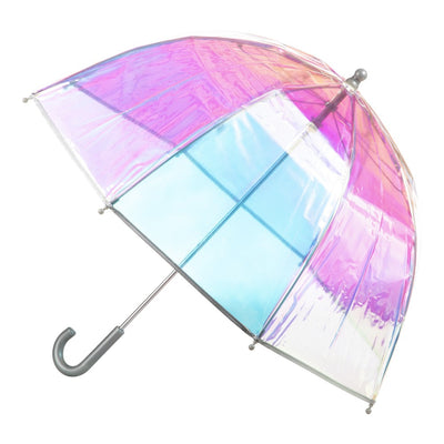 Kid's Clear Bubble Umbrella in Iridescent Open Side Profile