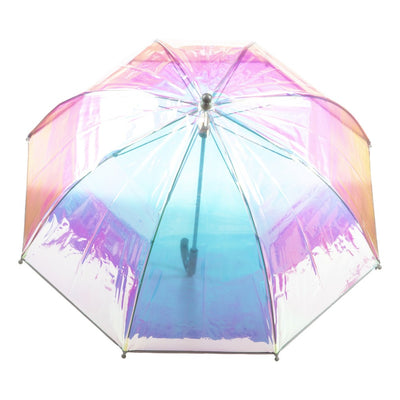 Kid's Clear Bubble Umbrella in Iridescent Open Top View