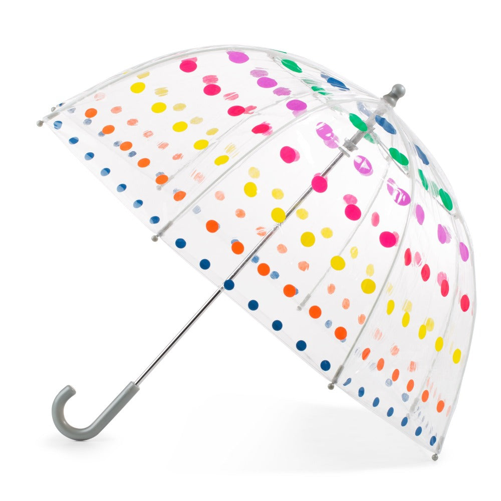 Kid's Clear Bubble Umbrella in Primary Dots Open Side Profile