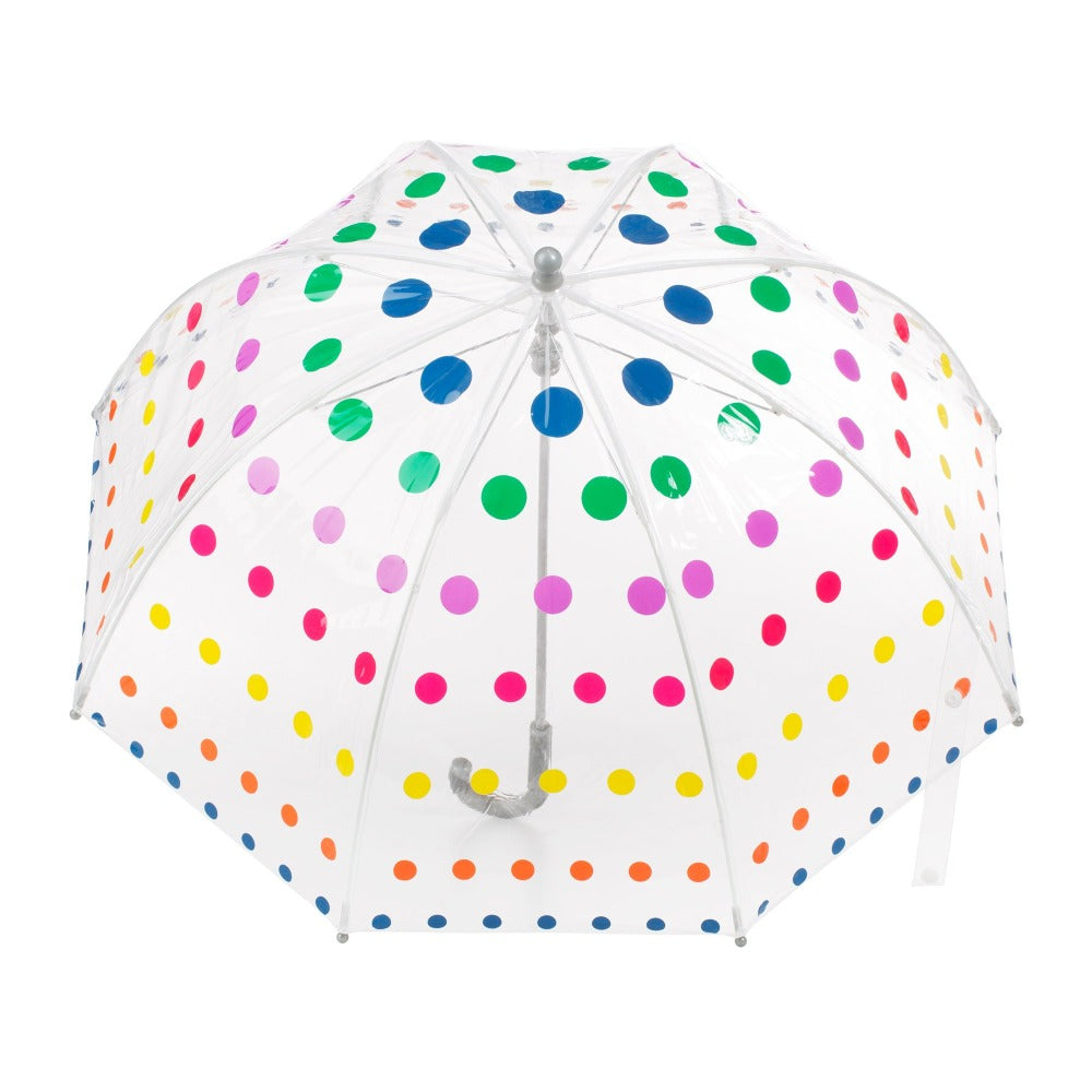 Kid's Clear Bubble Umbrella in Primary Dots Open Top View