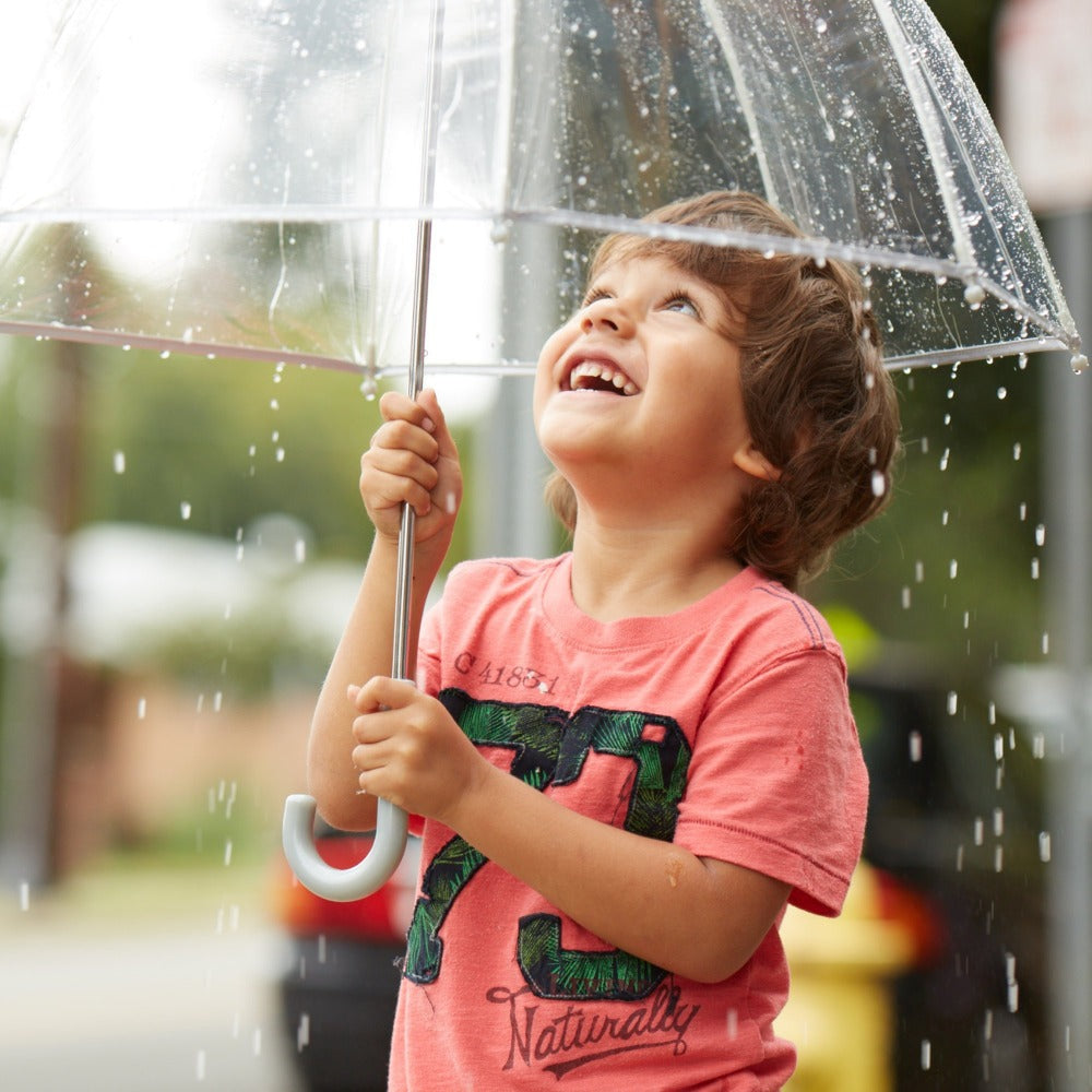 Kid's Clear Bubble Umbrella in Clear Open Side Profile With Model In The Rain