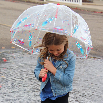 Kid's Clear Bubble Umbrella in Cosmic Adventure With Model In Wind