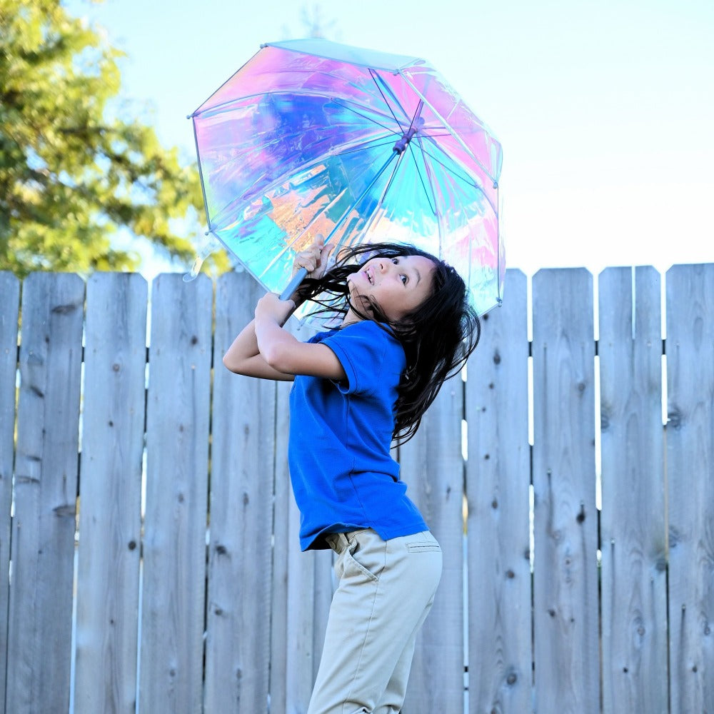 Kid's Clear Bubble Umbrella in Iridescent With Model Jumping