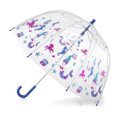 Kid's Clear Bubble Umbrella in Ocean Princess Open Side Profile