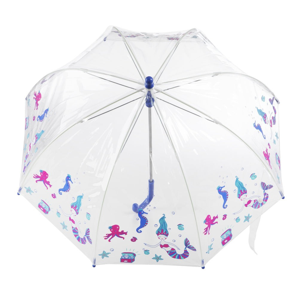 Kid's Clear Bubble Umbrella in Ocean Princess Open Top View