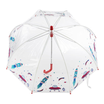 Kid's Clear Bubble Umbrella in Cosmic Adventure Open Top View