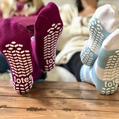 Women's Toasties Slipper Socks 3-Pack in Blue and Pink Assortments On Models