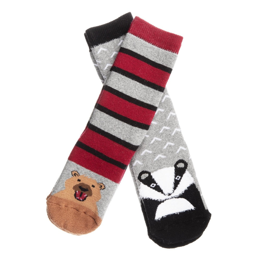 Kid's 2-Pack Novelty Toastie™ Slipper Socks in Bear/Multi