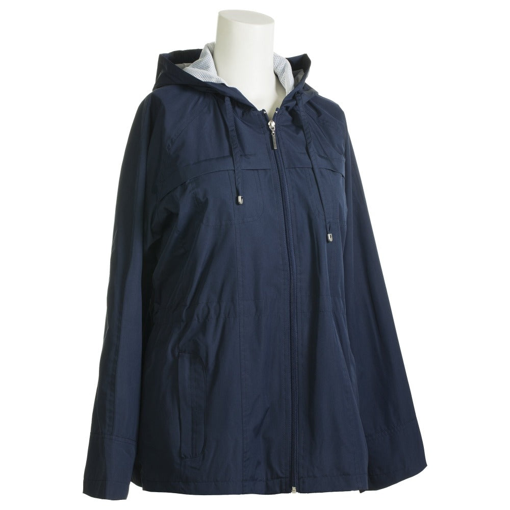 Anorak Coat in Navy Side Profile