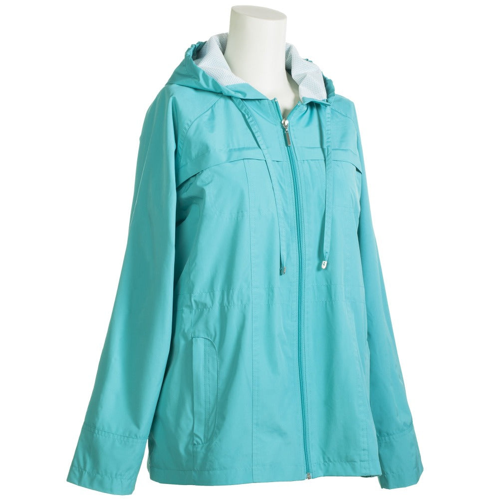 Anorak Coat in Teal Side Profile