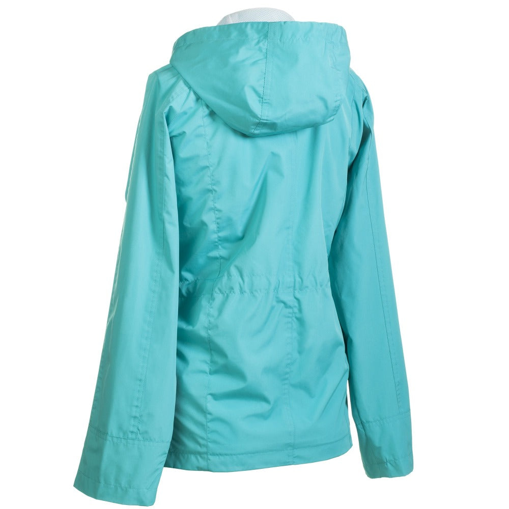 Anorak Coat in Teal Back View