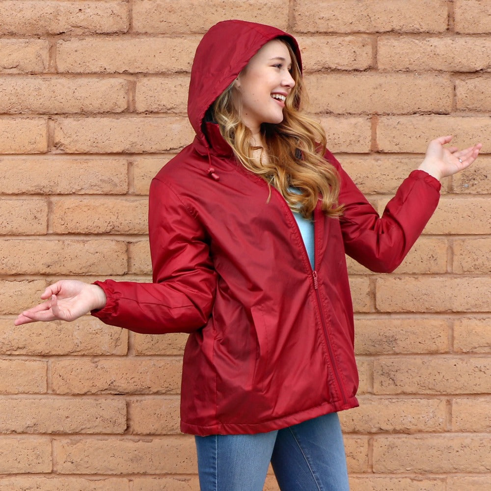 Women's Three Season Short-length Storm Jacket in Merlot On Model