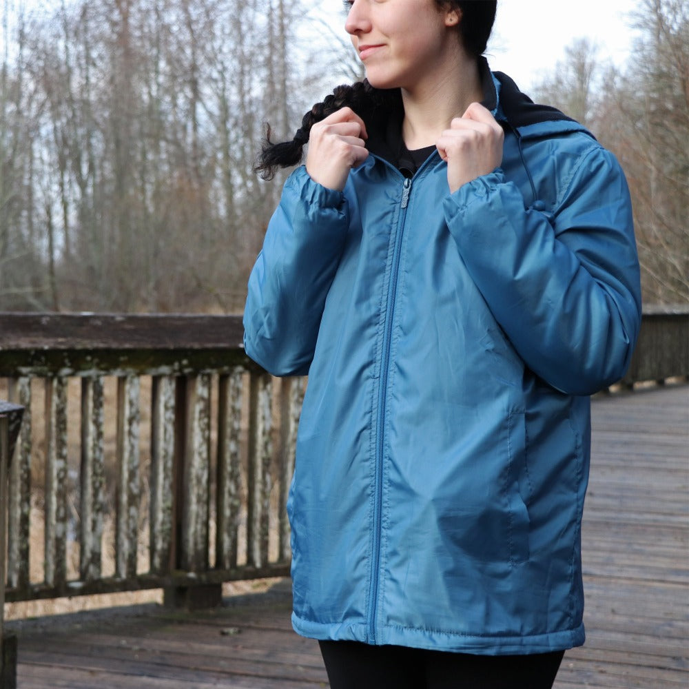 Women's Three Season Short-length Storm Jacket in Storm On Model