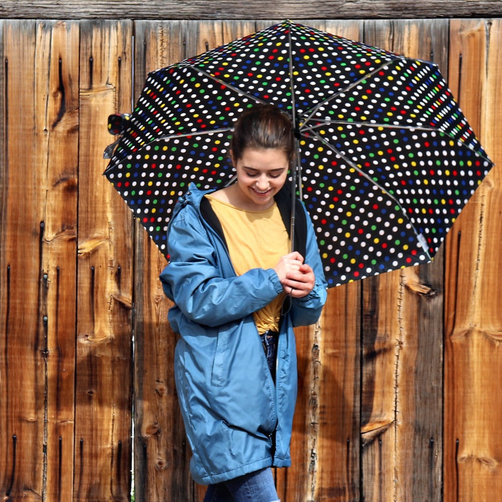 Women's Three Season Mid-length Storm Jacket in Storm On Model with Umbrella