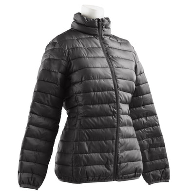 Women's Packable Puffer Jacket in Black Right Angled View