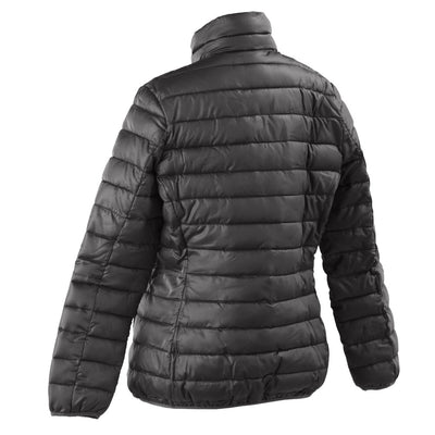 Women's Packable Puffer Jacket in Black Back Angled View