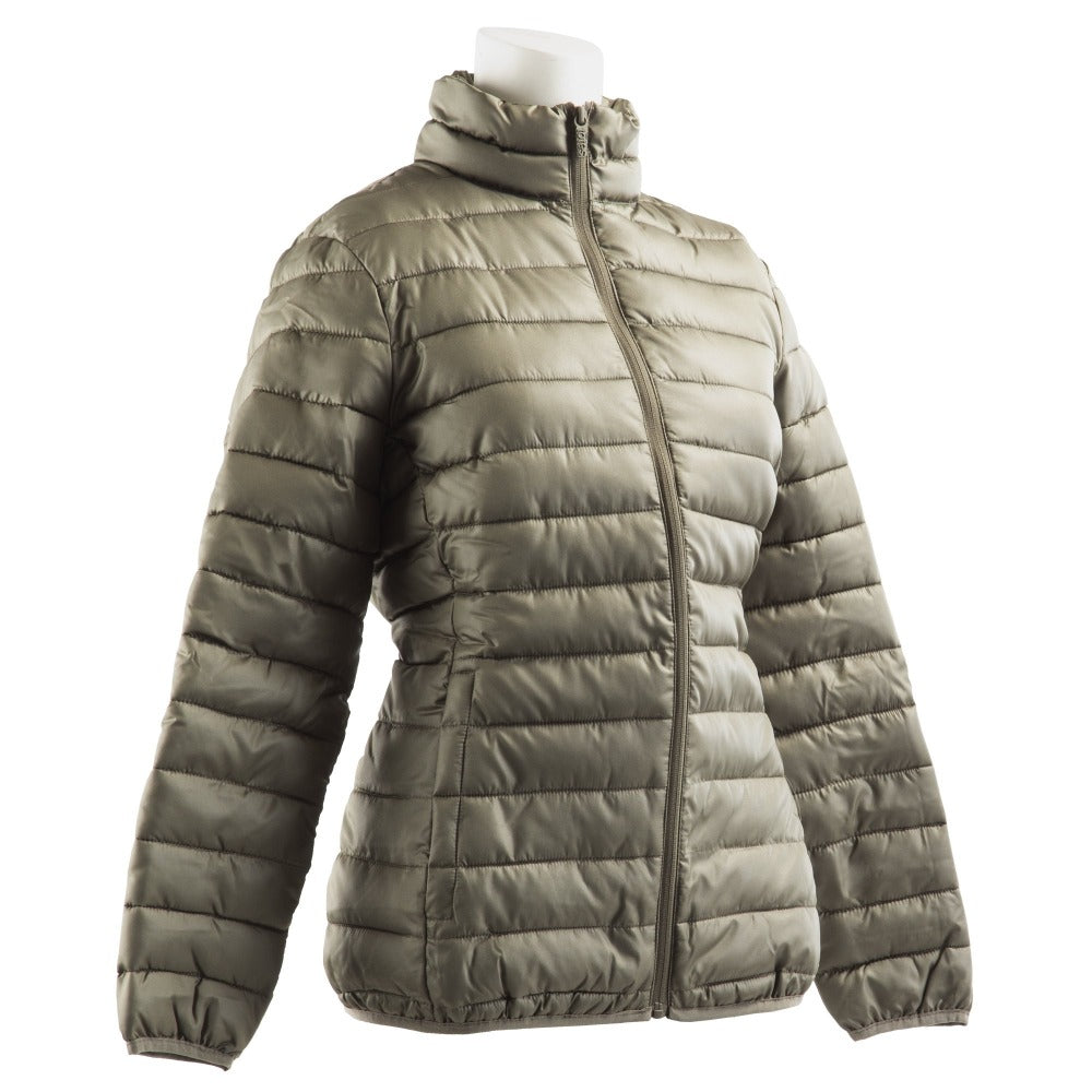 Women's Packable Puffer Jacket in Khaki Right Angled View