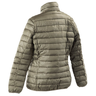 Women's Packable Puffer Jacket in Khaki Back Angled View