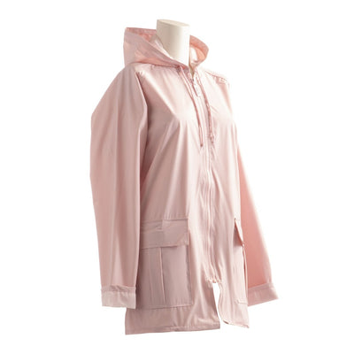 Lined Rain Slicker in Blush Side Profile