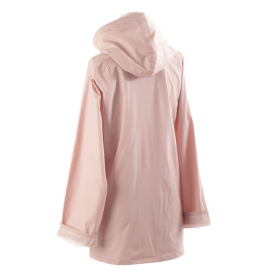 Lined Rain Slicker in Blush Back Hood View