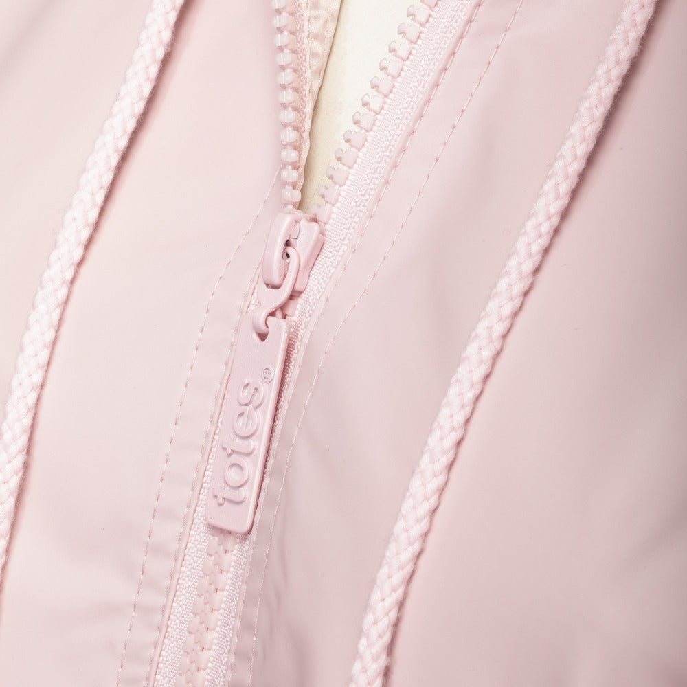 Lined Rain Slicker in Blush Zipper Close Up