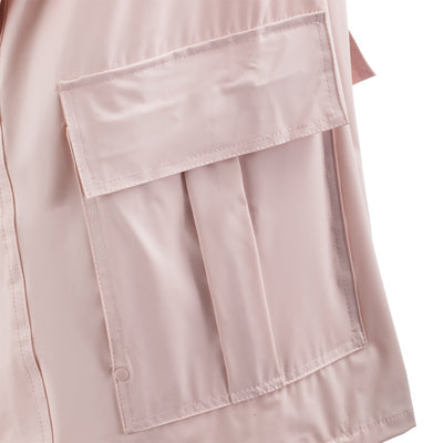 Lined Rain Slicker in Blush Pocket Close Up